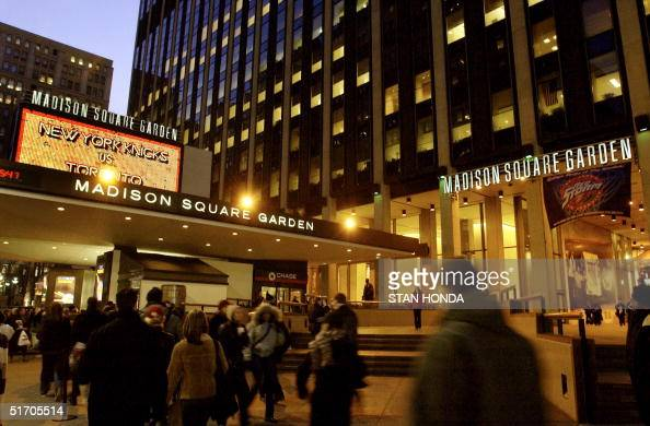 This 13 February 2002 photo shows a view of the Seventh Avenue entrance to Madison Square Garden in New York AFP PHOTO/Stan HONDA