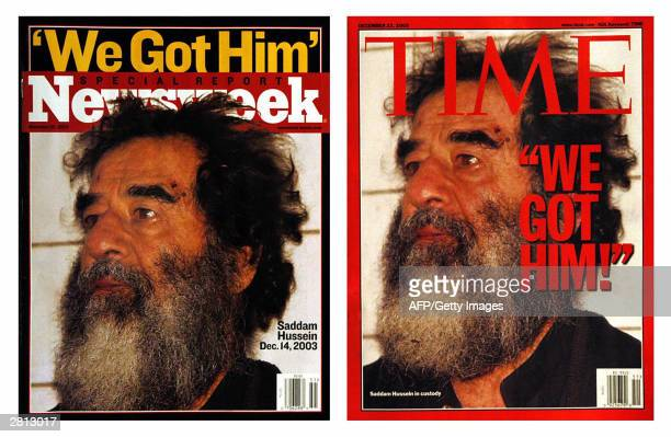 This 15 December 2003 combo photo shows the latest covers of Newsweek and Time magazines both featuring former Iraqi leader Saddam Hussein after his...