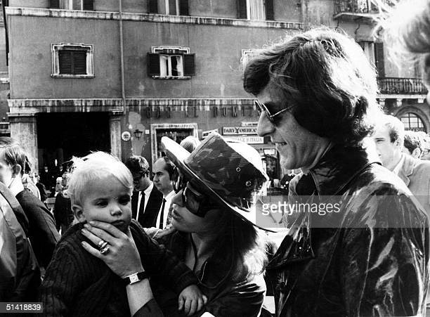 This 17 March 1969 file photo shows John Paul Getty Jr the son of petroleum multimillionaire John Paul Getty his wife Talitha Pol and their son...