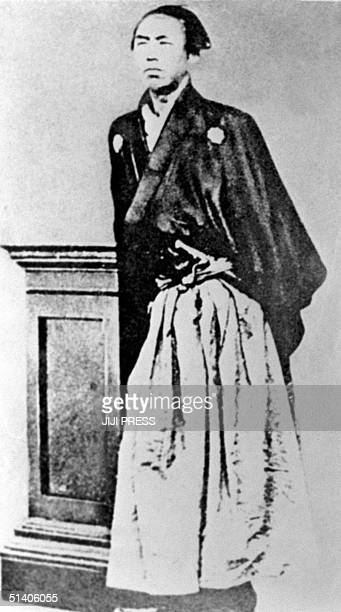 This 1866 picture taken in Nagasaki shows Japanese masterless samurai Ryoma Sakamoto who was a pioneer of maritime trade an advocate of insurance and...