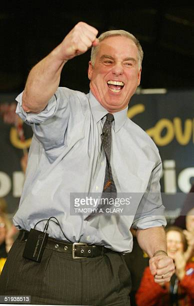This 19 January 2004 file photo shows then Democratic presidential candidate Howard Dean addressing supporters following his thirdplace finish in the...