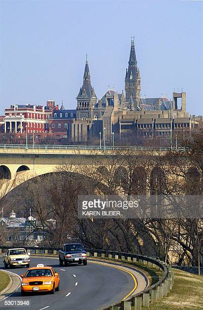 This 19 March 2005 view shows the spires of Healy Hall on the Georgetown University campus in Washington DC as seen from the George Washington...