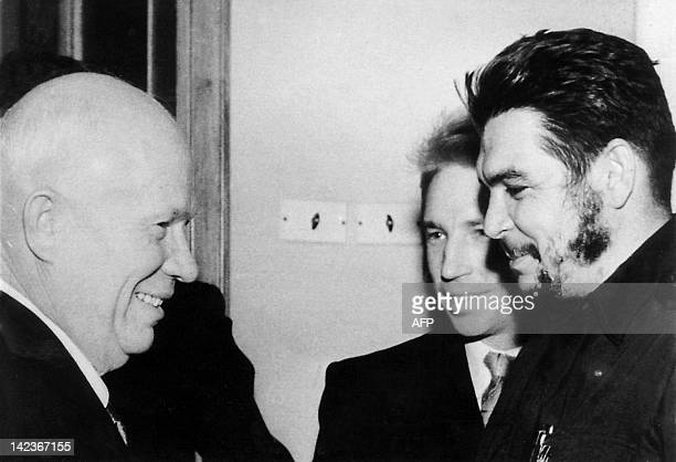 This 1962 photo shows Argentineborn legendary revolutionary figure Ernesto 'Che' Guevara greeting Nikita Khrushchev leader of the thenSoviet Union in...