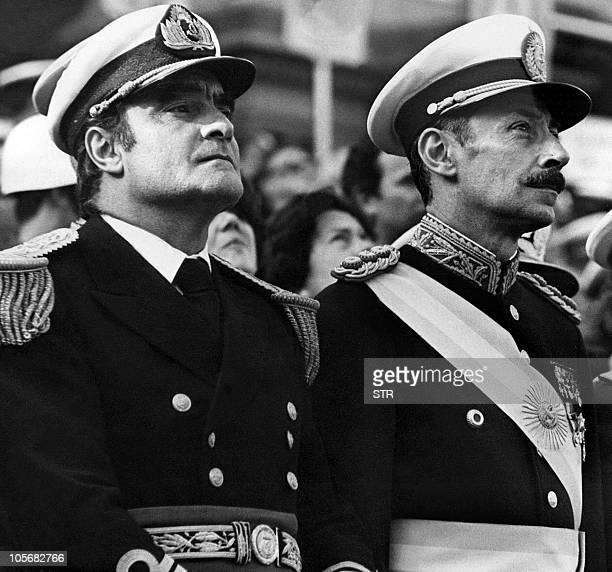 This 1971 file photo shows Argentine General Jorge Rafael Videla and Admiral Emilio Eduardo Massera leaders of the military dictatorship that ruled...