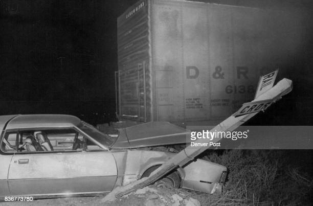 This 1975 Lincoln Continental Mark V collided with a Burlington Northern railroad engine Saturday evening near W 88th Ave and Sheridan Blvd injuring...