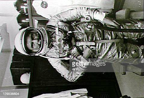 This 20 February 1962 NASA file photo shows then astronaut John Glenn in his spacesuit prior to his flight around the Earth in Friendship 7 Glenn was...