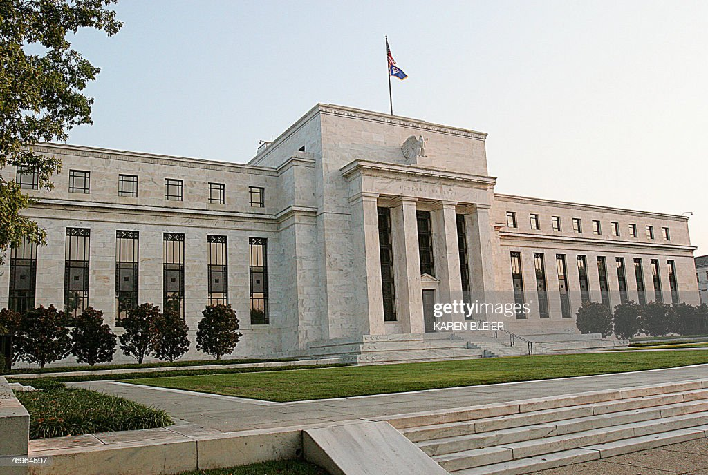 This 23 September 2007 photo shows the front of the Marriner S Eccles US Federal Reserve Building in Washington DC Marriner Stoddard Eccles was a US...