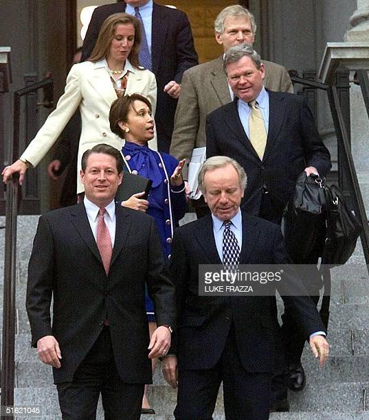 This 29 November 2000 file photo shows Roy Neel with then Democratic presidential candidate and US Vice President Al Gore Gore's running mate US...