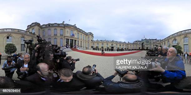 This 360 image shows Emmanuel Macron's daughterinlaw Thiphaine Auziere and her husband arriving to the courtyard of the Elysee Palace before the...