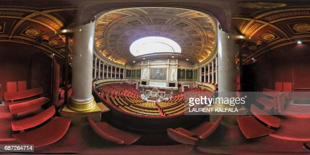 This 360 image shows the benches from the balcony at the Palais Bourbon the French National Assembly lowerhouse on May 23 2017 in Paris Legislative...