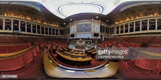 This 360 image shows workers renovating the benches at the Palais Bourbon the French National Assembly lowerhouse on May 23 2017 in Paris Legislative...