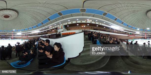This 360 photo taken on February 15 2017 shows spectators watching figure skaters perform at the Paektusan Prize International Figure Skating...