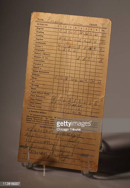This 7th grade report card for Elvis Presley is part of the memorabilia going on tour around the United States as part of a commemoration of his 75th...