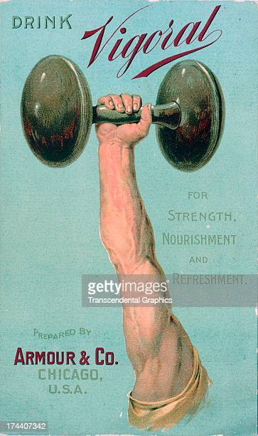 This advertising trade card featuring a diembodied weight lifting arm is produced circa 1880 in New York City