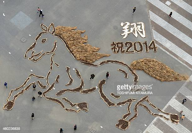 This aerial photo showing a 20metretall and 30metrewide picture made from pine cones of a horse is displayed to celebrate the Year of the horse at...