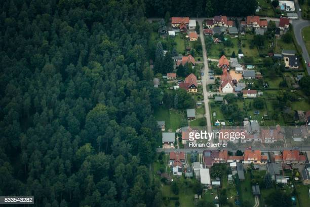 This aerial photo shows a housing estate next to a forest on August 04 2017 in Dresden Germany