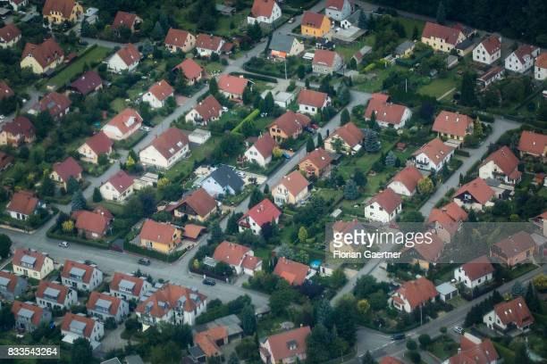 This aerial photo shows a housing estate on August 04 2017 in Dresden Germany