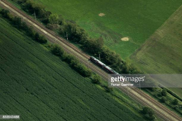 This aerial photo shows a train on August 04 2017 in Senftenberg Germany