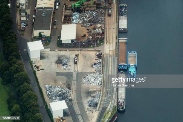 This aerial photo shows the city harbour on August 04 2017 in Dresden Germany