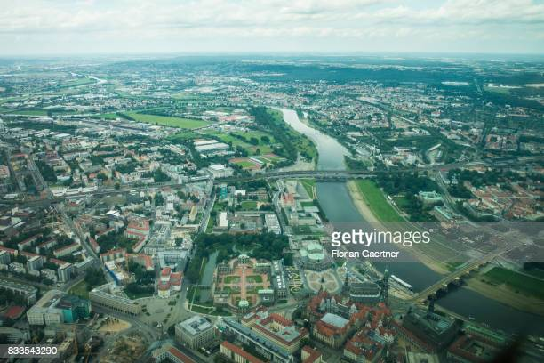 This aerial photo shows the river Elbe and the Historic City and the New Town on August 04 2017 in Dresden Germany