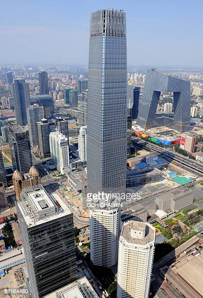 This aerial photo taken on August 2 2008 shows the CCTV headquarters building and the China World Tower 3 the city's tallest building in downtown...