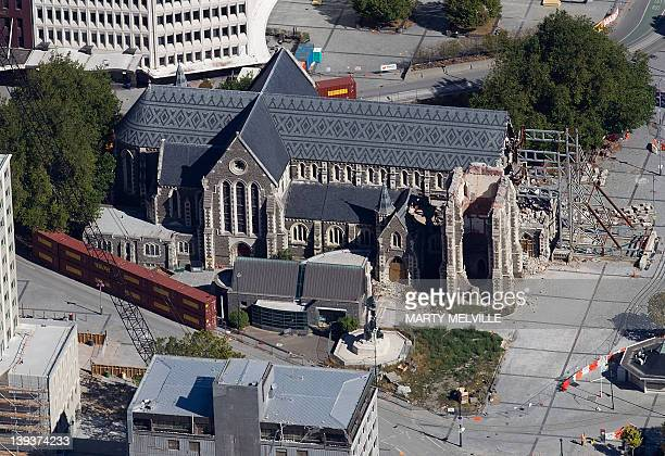 This aerial photograph shows the damaged Christchurch Cathedral in Christchurch on February 20 2012 nearly one year after a 63 quake hit New...