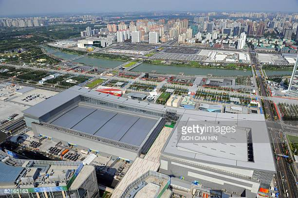 This aerial picture shows the National Indoor Stadium the main press center and the international broadcasting center on the Olympic Green ahead of...