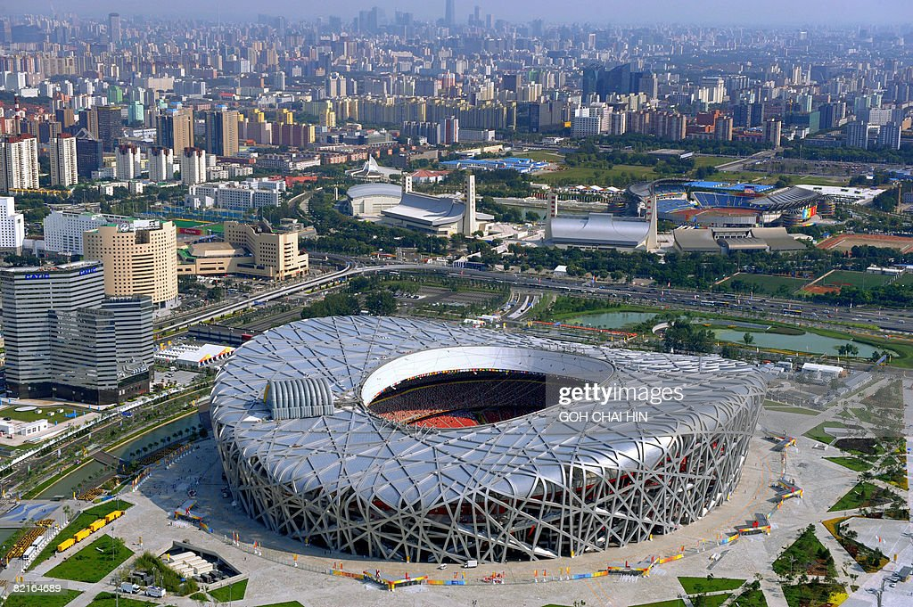 This aerial picture shows the National Stadium also known as the 'Bird's Nest' on the Olympic Green ahead of the Beijing 2008 Olympic Games on August...