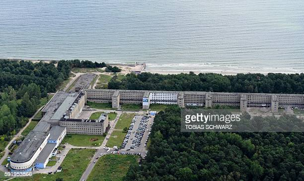 This aerial picture taken on August 18 2016 shows recently created luxury apartments at the site of the heritageprotected Prora Complex in Prora near...