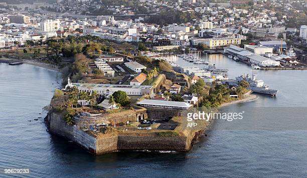 This aerial picture taken on March 16 2010 shows the city of FortdeFrance on the French island of La Martinique in the eastern Caribbean Sea At front...