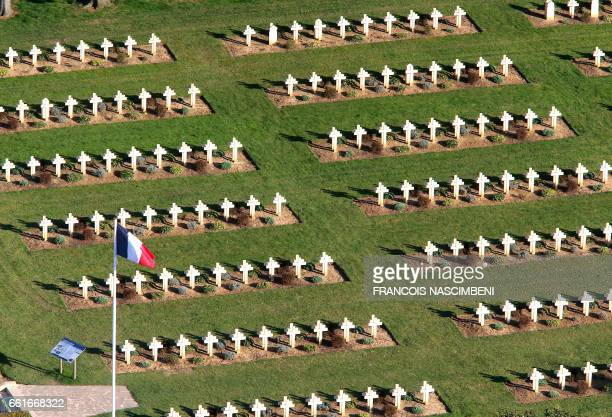 This aerial picture taken on March 25 2017 shows the French military cemetery where 5150 French soldiers are buried in CernyenLaonnois in the Aisne...