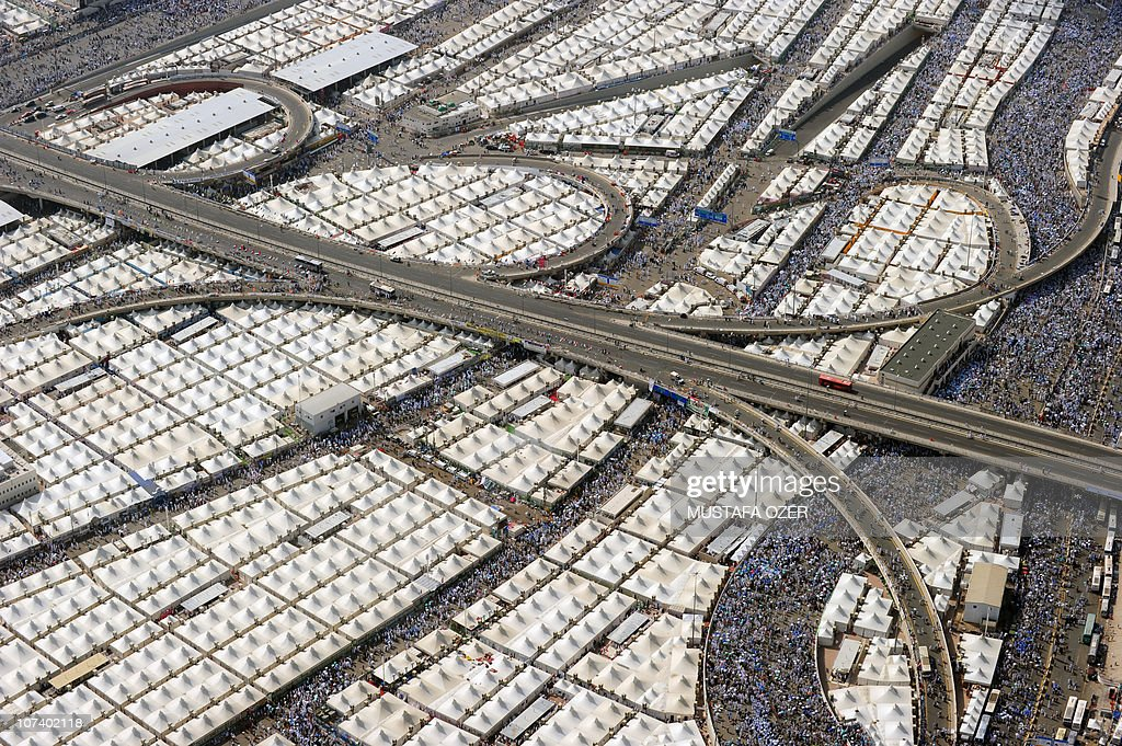 This aerial pictures shows thousands of tents housing Muslim pilgrims crowded together in Mina near the holy city of Mecca on November 17 as more...