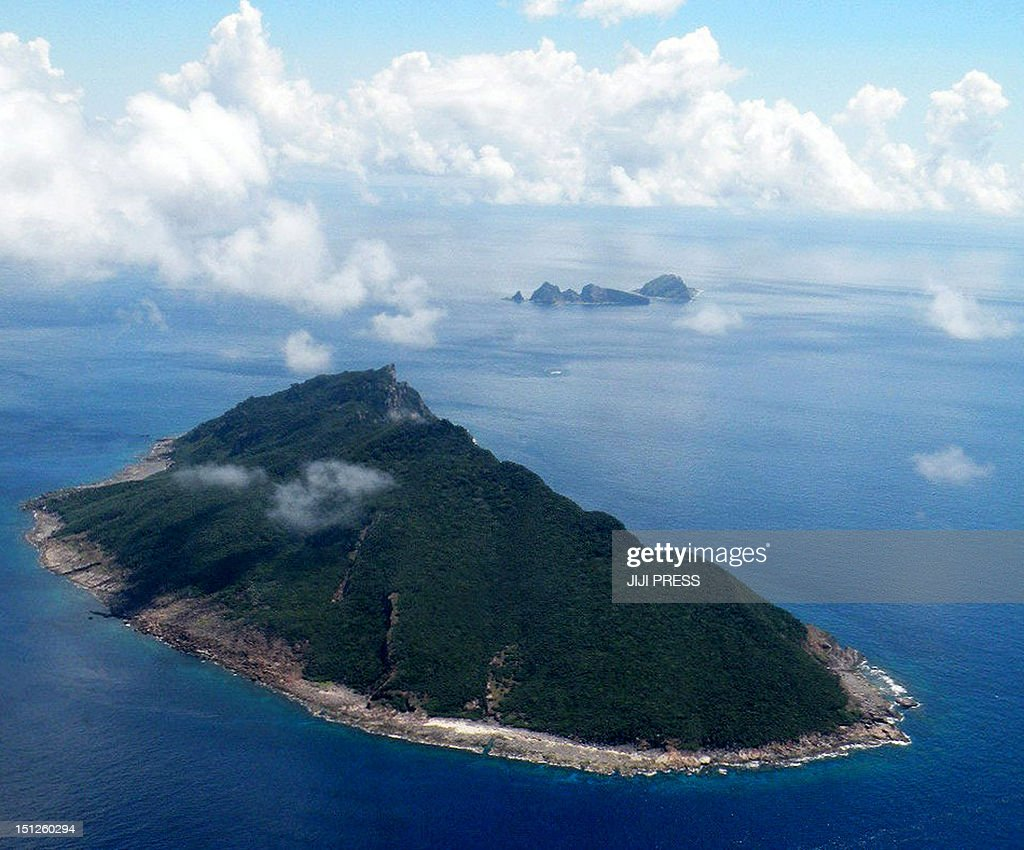 This aerial shot taken on September 15 2010 shows the disputed islands known as Senkaku in Japan and Diaoyu in China in the East China Sea China...