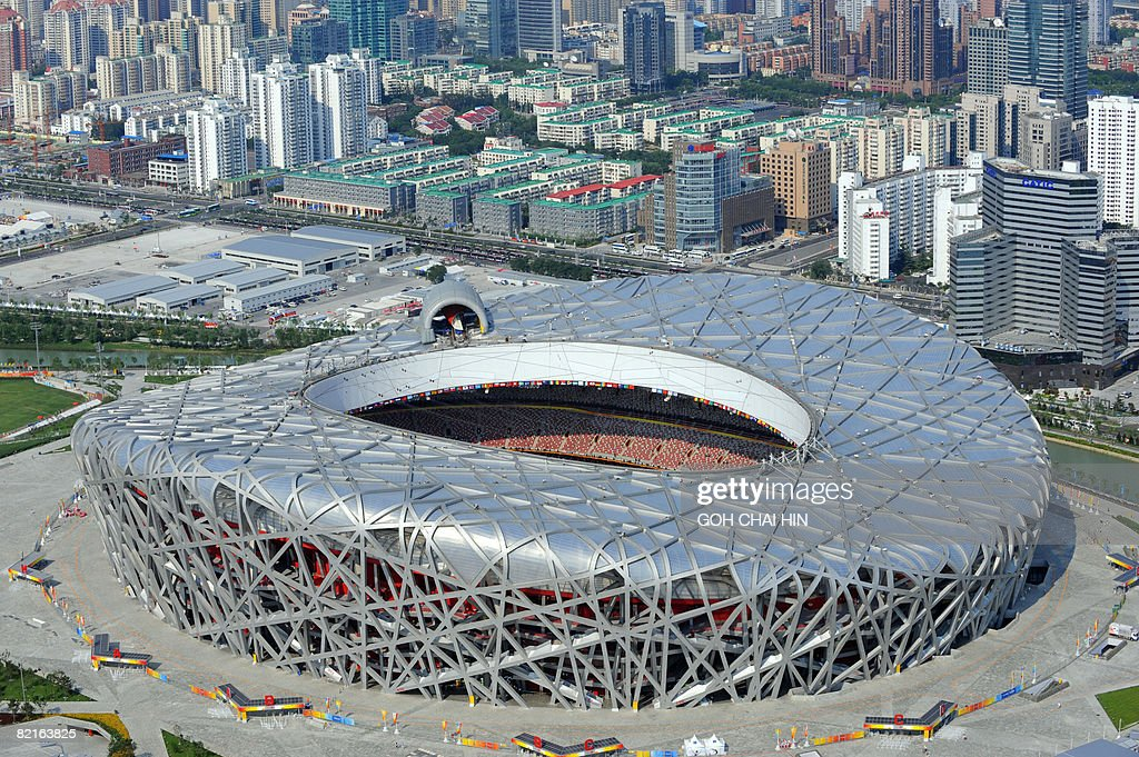 This aerial shows a view of the National Stadium also known as the 'Bird's Nest' taken on August 3 2008 ahead of the Beijing 2008 Olympic Games...