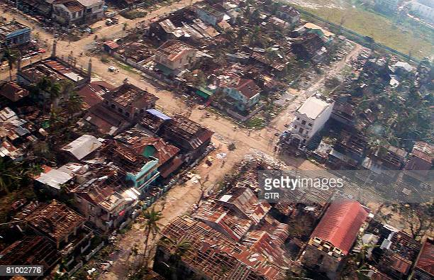 This aerial view shows a devastated town with many roofs missing in the Irrawaddy Delta region on May 5 2008 Myanmar's prodemocracy opposition said...