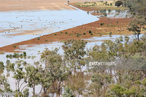 This aerial view shows flooded lands a few kilometres outside Goodooga in New South Wales near the border of Queenland state on January 6 2011...