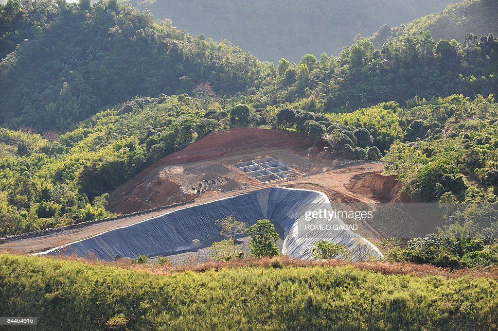 This aerial view shows the controversial San Mateo landfill on January 25 2009 The newly constructed sanitary landfill located in the mountainous...