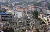 This aerial view shows the earthquakehit town of Yingxiu in Wenchuan county in China's Sichuan Province on May 24 2008 as UN Secretary General Ban...