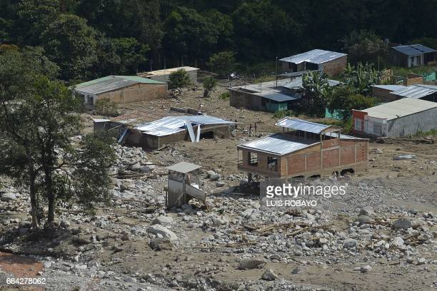 This aerial view shows the extensive damage caused by mudslides as a result of heavy rains in Mocoa Putumayo department Colombia on April 3 2017...