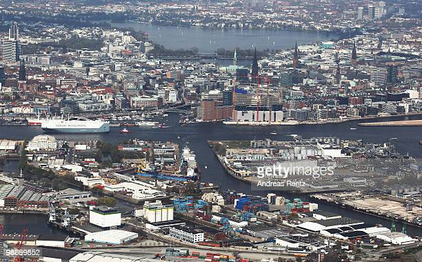 This aerial view shows the Hanseatic city of Hamburg on April 24 2010 in Hamburg Germany