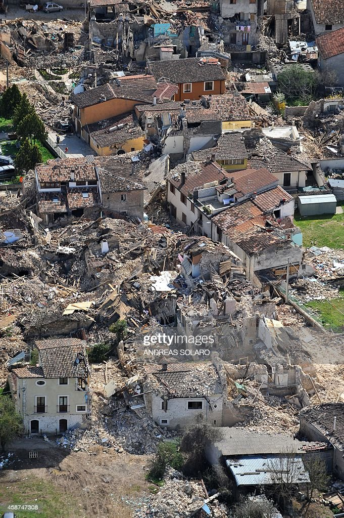 This aerial view taken on April 8 2009 shows the village of Onna located at some ten kilometers of the Abruzzo capital L'Aquila epicentre of a...