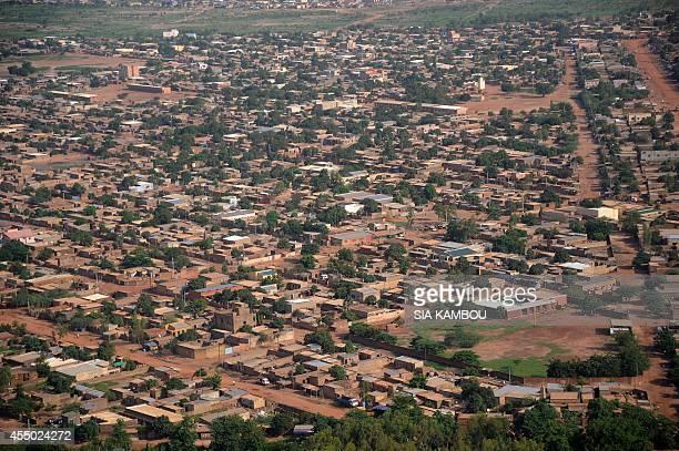 This aerial view taken on July 29 2014 shows a popular district of Ouagadougou AFP PHOTO / SIA KAMBOU