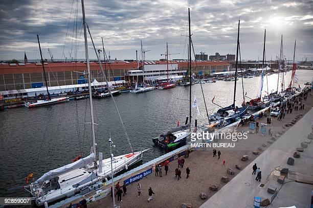 This aerial view taken on November 6 2009 shows boats docked on the French harbour of le Havre western of France two days ahead of the start of the...