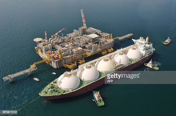 This aerial view taken on October 20 shows the Adriatic LNG Terminal offshore Levante about 15 kilometers off the Veneto coastline the day of its...
