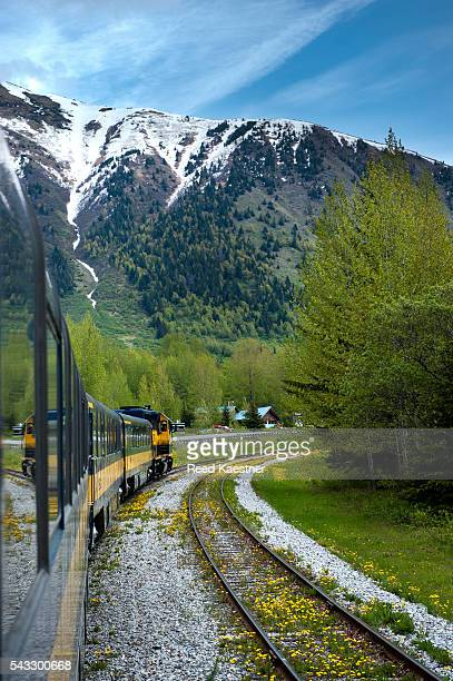 This Alaska Railway train goes from Anchorage to Seward over mountains.