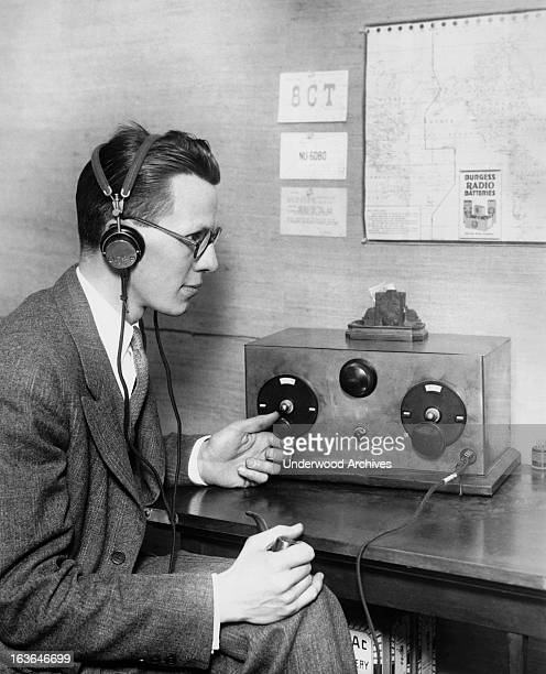 This amateur radio operator has been able to communicate on the ten meter band coast to coast Upper Montclair New Jersey circa 1929 The ten meter...