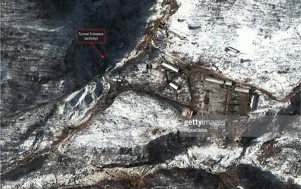 This annotated satellite image of the Punggye-ni Nuclear Test Facility in North Korea collected on January 28, 2013 confirms media reports that activity continues to be seen at the facility. In this image, activity is noted at the south tunnel entrance and the adjacent support area. In addition, dirt roads in the area show evidence of continued traffic and the main courtyard/parking area is relatively clear of snow.