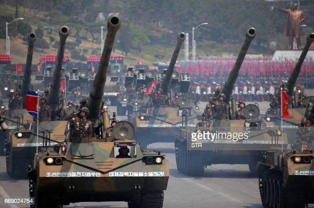 This April 15 2017 picture released from North Korea's official Korean Central News Agency on April 16 2017 shows Korean People's howitzers being...