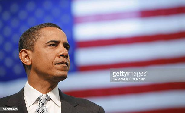 This April 18 2008 file photo shows Democratic presidential candidate US Senator Barack Obama speaking during a townhall meeting at The Behrend...