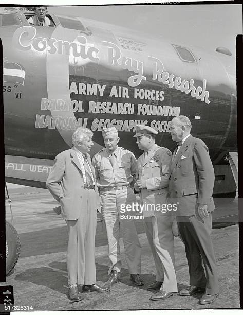 This Army Air Forces B29 returned to Washington Airport August 14th from the most extensive experiments ever made in Upper Air Research The plane...